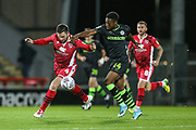 Morecambe midfielder Alex Kenyon (4) and Forest Green Rovers Ebou Adams(14) during the EFL Sky Bet League 2 match between Morecambe and Forest Green Rovers at the Globe Arena, Morecambe, England on 22 October 2019.