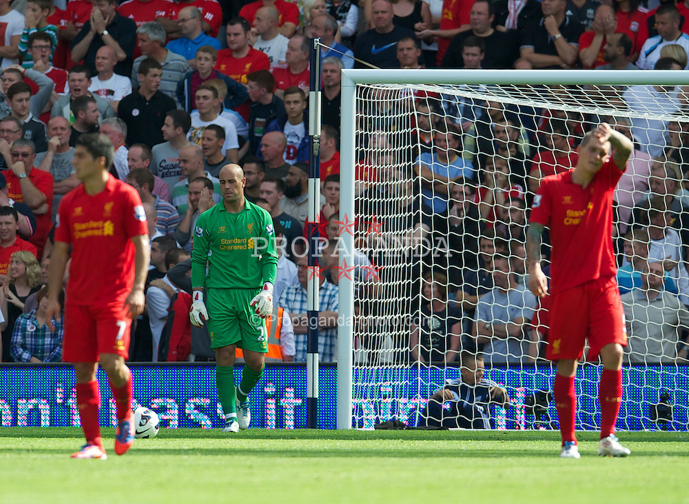 WEST BROMWICH, ENGLAND - Saturday, August 18, 2012: Liverpool's goalkeeper Jose Reina looks dejected as West Bromwich Albion score the opening goal during the opening Premiership match of the season at the Hawthorns. (Pic by David Rawcliffe/Propaganda)