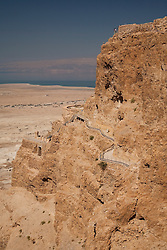 Middle East, Israel, three tiers of  Masada National Park, Roman fortress on top of a rock plateau overlooking the Dead Sea in the Judean Desert