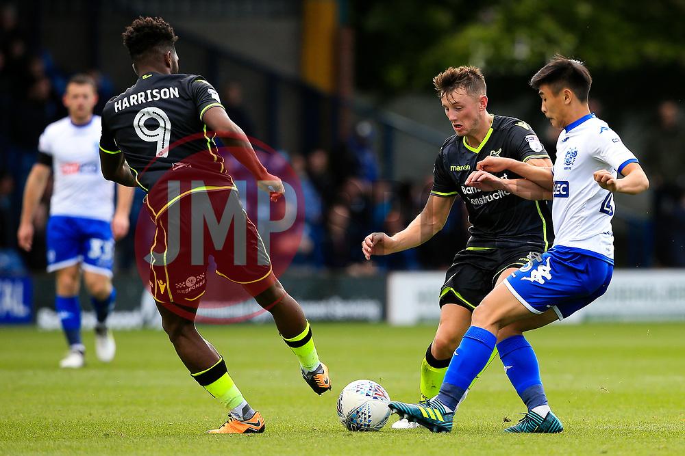 Ollie Clarke of Bristol Rovers tackles Tsun Dai of Bury - Mandatory by-line: Matt McNulty/JMP - 19/08/2017 - FOOTBALL - Gigg Lane - Bury, England - Bury v Bristol Rovers - Sky Bet League One