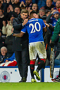 Steven Gerrard, manager of Rangers FC congratulates Alfredo Morelos (#20) of Rangers FC as he is substituted during the Group G Europa League match between Rangers FC and FC Porto at Ibrox Stadium, Glasgow, Scotland on 7 November 2019.
