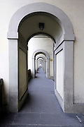 perspective view through a long corridor