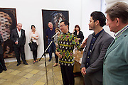 "Vienna, Austria. Galerie Suppan Contemporary. Vernissage of Zico Albaiquni (Indonesia), ""beyond the veil"".  H.E. Rachmat Budiman, Indonesian Ambassador to Austria, opening the exhibition.<br /> From r.: Martin Suppan, Zico Albaiquni, Dr. Melani Setiawan."