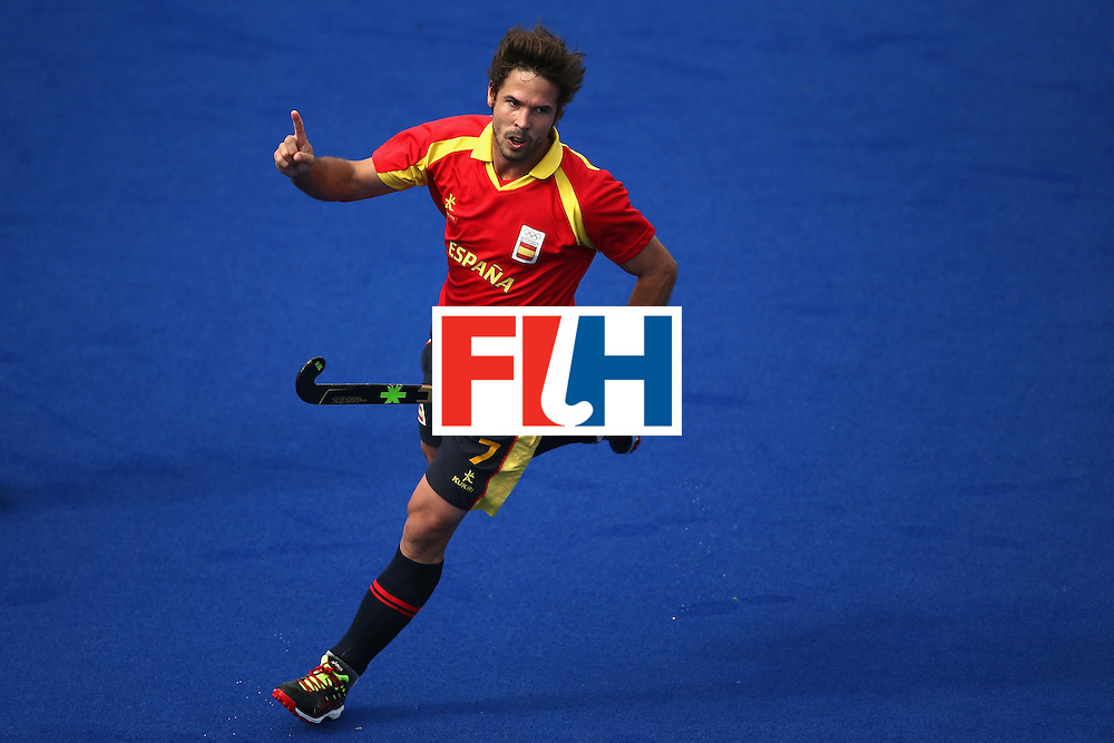 RIO DE JANEIRO, BRAZIL - AUGUST 11:  Pau Quemada #7 of Spain reacts to a goal against Belgium during a Men's Preliminary Pool A match on Day 6 of the Rio 2016 Olympics at the Olympic Hockey Centre on August 11, 2016 in Rio de Janeiro, Brazil.  (Photo by Sean M. Haffey/Getty Images)
