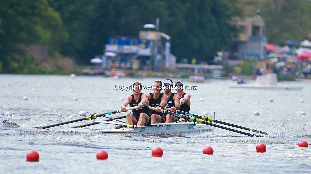 New Zealand Mens Four, Anthony Allen, Patrick Mcinnes, Axel Dickinson and Drikus Conradie. 22 May 2016.<br /> 2016 FISA European and Final Olympic Qualification Regatta at Lucerne, Switzerland, 22-24 May 2016.<br /> Copyright photo: www.photosport.nz