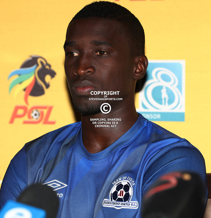 Siyanda Xulu of Maritzburg Utd during the MTN8 semi-final 2nd-leg Press Conference with the Head Coach and Selected players United,Harry Gwala Stadium in  Pietermaritzburg. 7th September -2017 (Photo by Steve Haag)