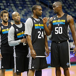 December 17, 2011; New Orleans, LA, USA; New Orleans Hornets players center Emeka Okafor (50), forward Carl Landry (24), point guard Jarrett Jack (2) and shooting guard Marco Belinelli (8) during a scrimmage at the New Orleans Arena.   Mandatory Credit: Derick E. Hingle-US PRESSWIRE
