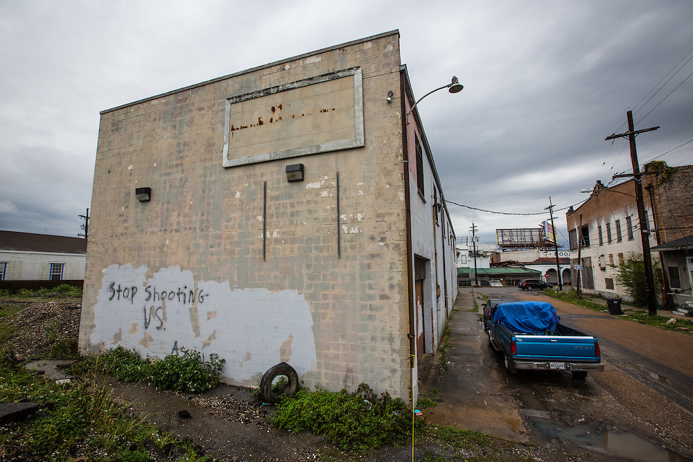 April 11, 2013, Blighted buliding near the Circle Market  in New Orleans almost eight years after Hurricane Katrina with an anti voilnce message painted on it.