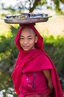 CHAUNG-U, MYANMAR - DECEMBER 01, 2016 : child boy buddhist monk portrait near Monywa Myanmar (Burma)