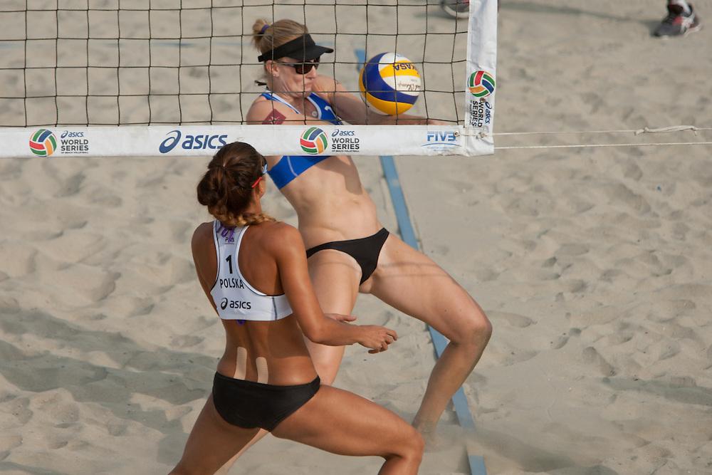 WSOBV - 2015 ASICS World Series of Beach Volleyball, Long Beach, CA - Day/Kessy (USA) vs Kolosinska/Brzostek (POL) at the WSOBV event held in Long Beach, CA