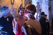 OTTILIE WINDSOR; MEGAN PIPER; , Ball at to celebrateBlanche Howard's 21st and  George Howard's 30th  birthday. Dress code: Black Tie with a touch of Surrealism. Castle Howard. Yorkshire. 14 November 2015