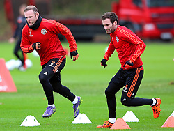 Wayne Rooney and Juan Mata of Manchester United warm up - Mandatory byline: Matt McNulty/JMP - 07966386802 - 24/11/2015 - FOOTBALL - Aon Training Complex -Manchester,England - UEFA Champions League