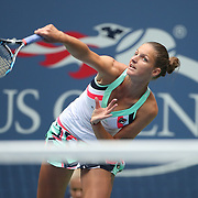 2017 U.S. Open Tennis Tournament - DAY TWO.  Karolina Pliskova of the Czech Republic in action against Magda Linette of Poland during the US Open Tennis Tournament at the USTA Billie Jean King National Tennis Center on August 29, 2017 in Flushing, Queens, New York City.  (Photo by Tim Clayton/Corbis via Getty Images)