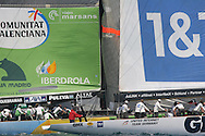 Spain's Desafio Espanol and Germany's United Internet join pack of America's Cup yachts battling for position at start of fleet race; Valencia, Spain.