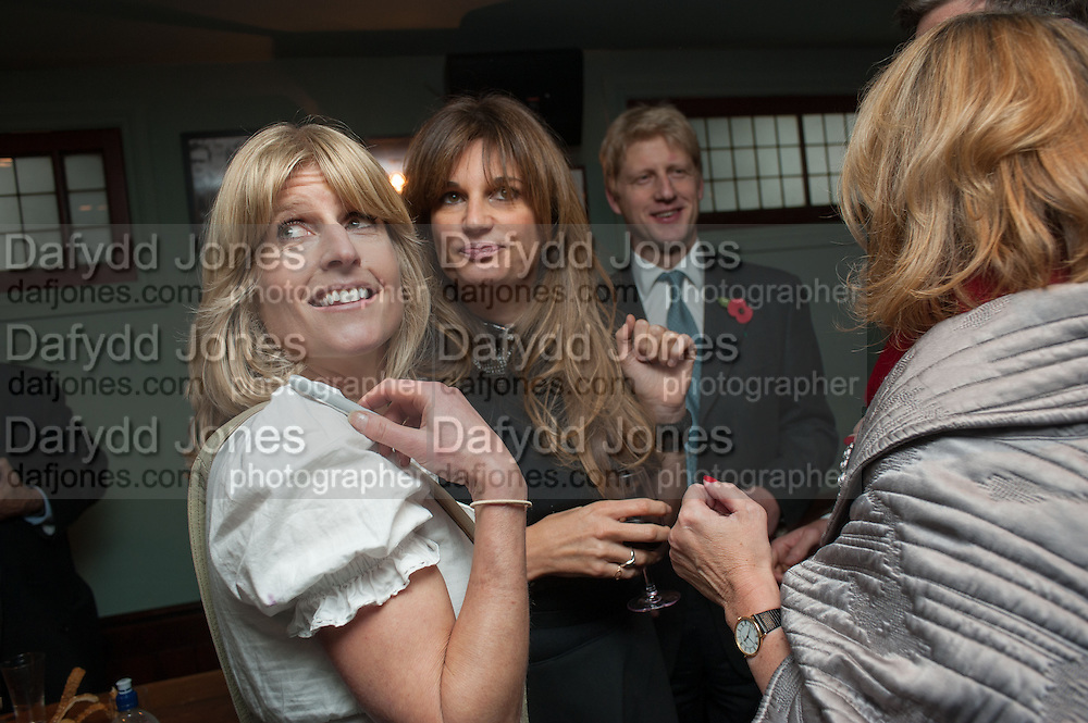 RACHEL JOHNSON; JEMIMA KHAN; JOE JOHNSON; , Party to celebrate the publication of 'Winter Games' by Rachel Johnson. the Draft House, Tower Bridge. London. 1 November 2012.
