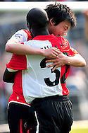 Onderwerp/Subject: Feyenoord - Eredivisie<br /> Reklame:  <br /> Club/Team/Country: Feyenoord<br /> Seizoen/Season: 2010/2011<br /> FOTO/PHOTO: Feyenoord's Ryo MIYAICHI (BEHIND) celebrating with Feyenoord's Bruno MARTINS INDI (FRONT). (Photo by PICS UNITED)<br /> <br /> Trefwoorden/Keywords:  <br /> #02 $94 &plusmn;1279295324043<br /> Photo- &amp; Copyrights &copy; PICS UNITED <br /> P.O. Box 7164 - 5605 BE  EINDHOVEN (THE NETHERLANDS) <br /> Phone +31 (0)40 296 28 00 <br /> Fax +31 (0) 40 248 47 43 <br /> http://www.pics-united.com <br /> e-mail : sales@pics-united.com (If you would like to raise any issues regarding any aspects of products / service of PICS UNITED) or <br /> e-mail : sales@pics-united.com   <br /> <br /> ATTENTIE: <br /> Publicatie ook bij aanbieding door derden is slechts toegestaan na verkregen toestemming van Pics United. <br /> VOLLEDIGE NAAMSVERMELDING IS VERPLICHT! (&copy; PICS UNITED/Naam Fotograaf, zie veld 4 van de bestandsinfo 'credits') <br /> ATTENTION:  <br /> &copy; Pics United. Reproduction/publication of this photo by any parties is only permitted after authorisation is sought and obtained from  PICS UNITED- THE NETHERLANDS