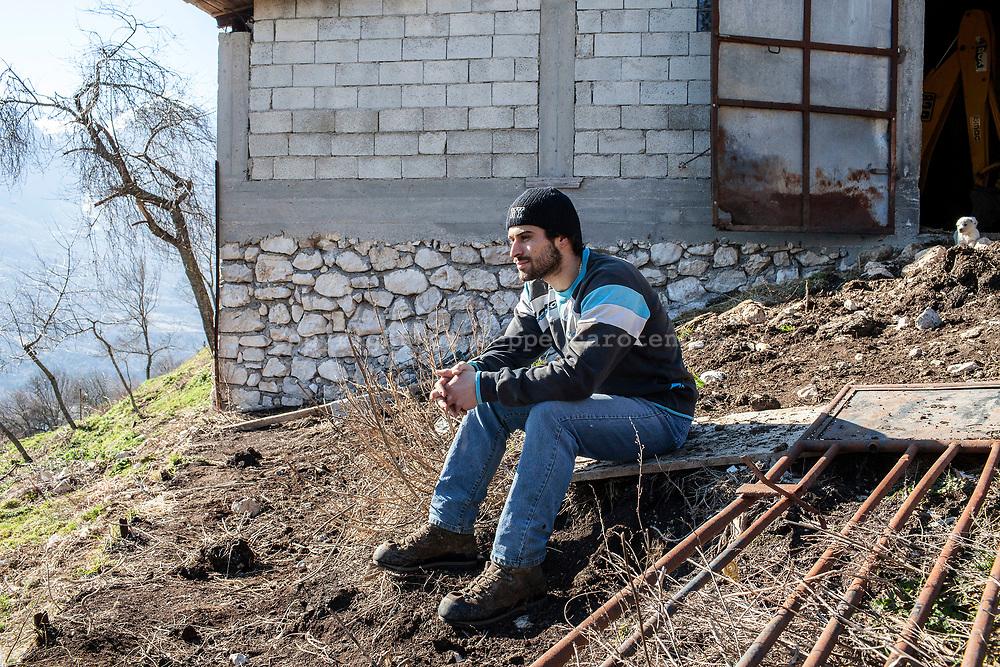 16 February 2017, Barrea, AQ Italy - Alessio Tamburro, 20 years, shepherd inside a small family farm in Barrea.