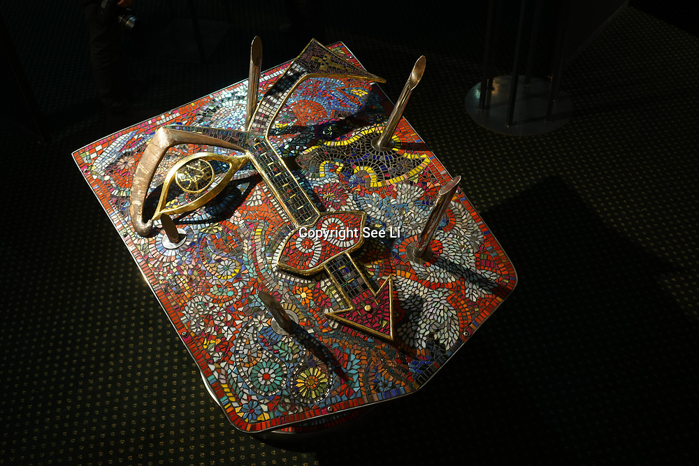 Chelsea Old Town Hall.London,England,UK. 26th April 2017. Prince / Purple Crash by Artist Guy Portelli exhibition  at Chelsea Art Fair - press & photocall of King's Road Revolution Where Art meets Music at Chelsea Old Town Hall. by See Li