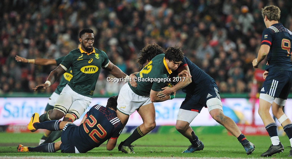 Jan Serfontein of South Africa is tackled by Yacouba Camara of France during the 2017 International Incoming Series rugby match between SA and France on 24 June 2017 at Ellis Park Stadium   © Sydney Mahlangu /BackpagePix