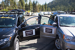 Team cars of Trek-Drops Cycling Team  on Stage 2 of the Amgen Tour of California - a 108 km road race, starting and finishing in South Lake Tahoe on May 18, 2018, in California, United States. (Photo by Balint Hamvas/Velofocus.com)