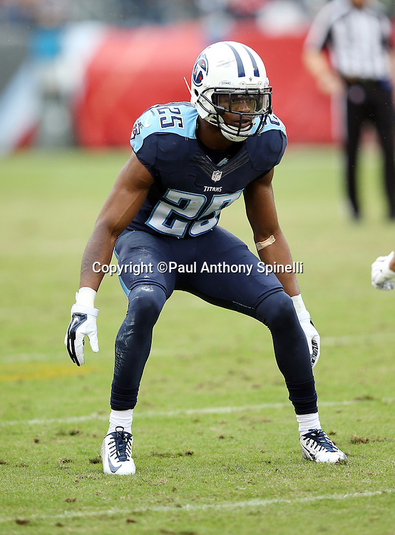 Tennessee Titans cornerback Blidi Wreh-Wilson (25) chases the action during the 2015 week 7 regular season NFL football game against the Atlanta Falcons on Sunday, Oct. 25, 2015 in Nashville, Tenn. The Falcons won the game 10-7. (©Paul Anthony Spinelli)