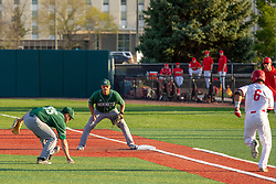 NORMAL, IL - April 08: Travis Martizia picks up an infield bunt and flicks it to Martin Vincelli-Simard to put out the batter Aidan Huggins during a college baseball game between the ISU Redbirds  and the Sacramento State Hornets on April 08 2019 at Duffy Bass Field in Normal, IL. (Photo by Alan Look)