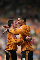 Photo: Rich Eaton.<br /> <br /> Wolverhampton Wanderers v West Bromwich Albion. Coca Cola Championship. 11/03/2007. Jay Bothroyd #10 right is congratulated by Darren Potter after scoring the only goal of the game