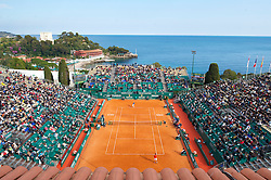 MONTE-CARLO, MONACO - Tuesday, April 13, 2010: A general view of the centre court as Jo-Wilfried Tsonga (FRA) defeats Nicolas Almagro (ESP) 7-6 (5), 7-5 during the Men's Singles 2nd Round at the ATP Masters Series Monte-Carlo at the Monte-Carlo Country Club. (Photo by David Rawcliffe/Propaganda)