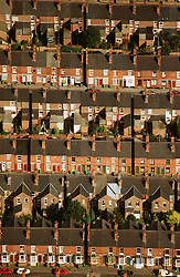 Aerial view of terraced housing; in Forest Fields; Nottingham,