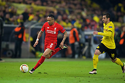 DORTMUND, GERMANY - Thursday, April 7, 2016: Liverpool's Nathaniel Clyne in action against Borussia Dortmund during the UEFA Europa League Quarter-Final 1st Leg match at Westfalenstadion. (Pic by David Rawcliffe/Propaganda)