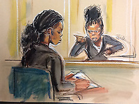 Witchcraft Case<br /> Sister Kelly giving evidence while her sister is unable to look her in the eye.