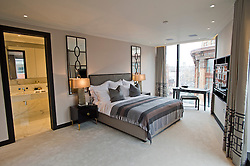 **Home supplement** © Ben Cawthra. 22/01/2013. The master bedroom of the penthouse apartment of The Lansbury, on Basil Street, London, recently refurbished in to 6 luxury apartments opposite Harrods in central London. Photo credit: Ben Cawthra.