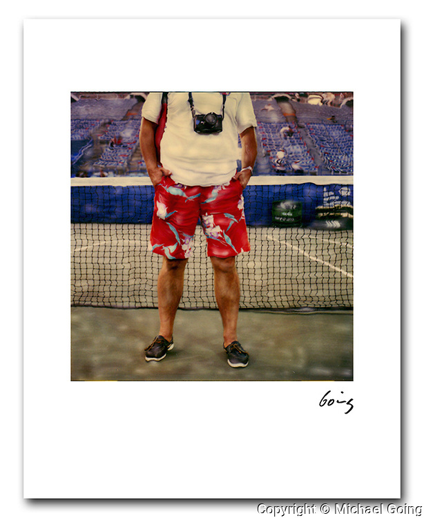 Hawaiian Shorts Center Court US Tennis Open 1985. 8x10 archival pigment print 100.00 free shipping USA.  Hand altered Polaroid SX 70 photograph. Printed to order and individually hand signed.