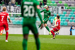 Maksimenko Vitalijs of NK Olimpija Ljubljana vs Kontek Ivan of NK Aluminij during football match between NK Olimpija Ljubljana and NK Aluminij in Round #27 of Prva liga Telekom Slovenije 2018/19, on April 14th, 2019 in Stadium Stozice, Slovenia Photo by Matic Ritonja / Sportida