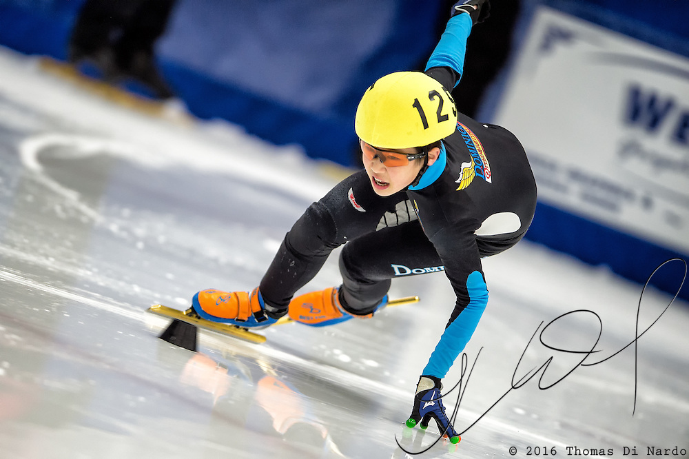 March 19, 2016 - Verona, WI - Joonsuh Oh, skater number 125 competes in US Speedskating Short Track Age Group Nationals and AmCup Final held at the Verona Ice Arena.