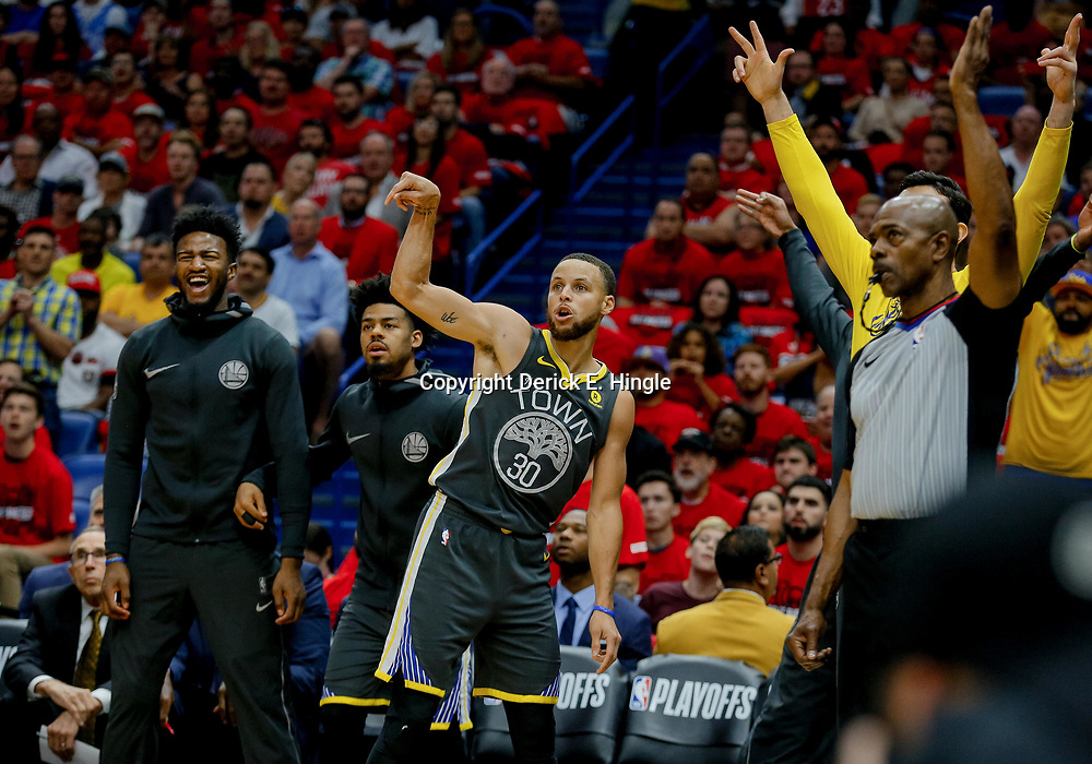 May 6, 2018; New Orleans, LA, USA; Golden State Warriors guard Stephen Curry (30) reacts after hitting a three point basket against the New Orleans Pelicans during the first quarter in game four of the second round of the 2018 NBA Playoffs at the Smoothie King Center. Mandatory Credit: Derick E. Hingle-USA TODAY Sports