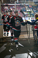 KELOWNA, CANADA - OCTOBER 26: Kyle Topping #24 of the Kelowna Rockets exits the ice against the Victoria Royals on October 26, 2016 at Prospera Place in Kelowna, British Columbia, Canada.  (Photo by Marissa Baecker/Shoot the Breeze)  *** Local Caption ***