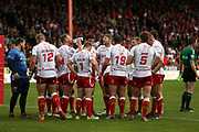 Hull Kingston Rovers players in a huddle after conceding a try during the Betfred Super League match between Hull Kingston Rovers and Leeds Rhinos at the Lightstream Stadium, Hull, United Kingdom on 29 April 2018. Picture by Mick Atkins.