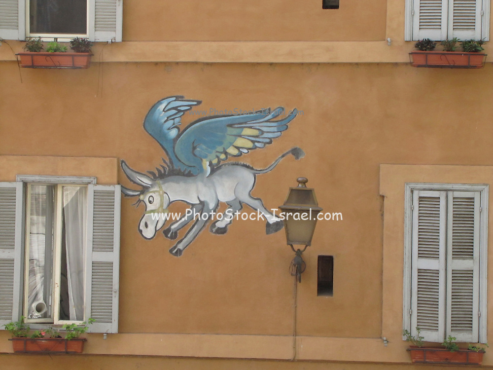 Italy, Rome, Graffiti of a winged donkey