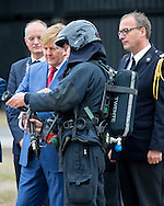 King Willem-Alexander of The Netherlands visits the Twente Safety Campus in Deurningen, The Netherlands, 6 October 2016. At the campus school children and the elderly how to react in dangerous situations. 6-10-2016 ENSCHEDE - King Willem-Alexander is Thursday, October 6th at the opening of the National Congress in the Netherlands Fire Wilminktheater in Enschede. He will give a speech. He then brings a working visit to Twente Safety Campus.COPYRIGHT ROBIN UTRECHT<br />  6-10-2016 ENSCHEDE - Koning Willem-Alexander is donderdag 6 oktober aanwezig bij de opening van het Landelijk Congres Brandweer Nederland in het Wilminktheater in Enschede. ENSCHEDE - Koning Willem-Alexander tijdens een werkbezoek aan de Twente Safety Campus.  Hij zal een speech houden. Aansluitend brengt hij een werkbezoek aan de Twente Safety Campus. Deurningen COPYRIGHT ROBIN UTRECHT