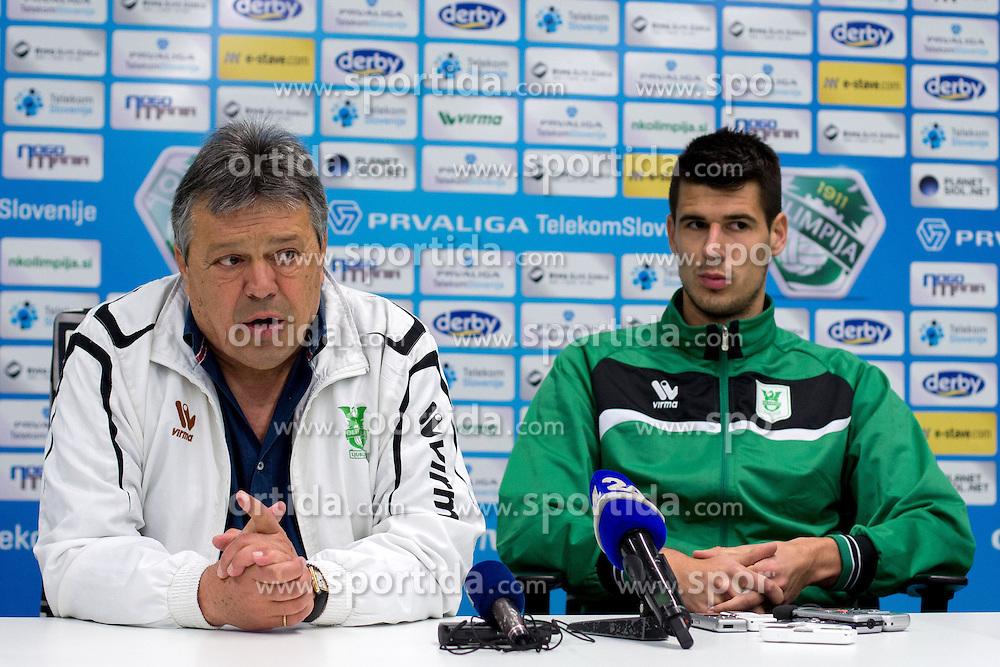Milorad Kosanovic, head coach, and Nemanja Mitrovic at press conference of NK Olimpije before second part of Slovenian league on February 28, 2014 in SRC Stozice, Ljubljana, Slovenia. Photo by Matic Klansek Velej / Sportida
