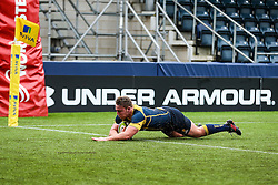 Cameron Harrison (St John's College, Zimbabwe) of Worcester Warriors U18 scores a try - Rogan Thomson/JMP - 16/02/2017 - RUGBY UNION - Sixways Stadium - Worcester, England - Worcester Warriors U18 v Saracens U18 - Premiership Rugby Under 18 Academy Finals Day 5th Place Play-Off.