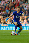 Leicester City's Jamie Vardy looks for a pass during the Barclays Premier League match between Stoke City and Leicester City at the Britannia Stadium, Stoke-on-Trent, England on 19 September 2015. Photo by Aaron Lupton.