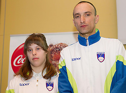 Larisa Bitici (CIRIUS Vipava) and Andrej Rauh (CUDV Crna) during press conference of Special olympic team of Slovenia before departure to Special Olympics PyeongChang 2013 in South Korea on January 24, 2013 in Hotel Mons, Ljubljana, Slovenia. he next Special Olympics World Games take place in PyeongChang, South Korea, 29 January to 5 February 2013. (Photo by Vid Ponikvar / Sportida.com)