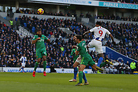 Football - 2018 / 2019 Premier League - Brighton and Hove Albion vs. Watford<br /> <br /> Jurgen Locadia of Brighton climbs above Daryl Janmaat of Watford to head goal wards only for Ben Foster of Watford to make a fine save at The Amex Stadium Brighton <br /> <br /> COLORSPORT/SHAUN BOGGUST