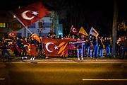 Frankfurt | 16 April 2017<br /> <br /> Nach dem f&uuml;r Pr&auml;sident Erdogan erfolgreich ausgegangenen Verfassungsreferendum in der T&uuml;rkei haben sich in der Kennedyallee in Frankfurt am Main vor dem Generalkonsulat der T&uuml;rkei T&uuml;rken zum jubeln und Fahnen schwenken versammelt.<br /> <br /> photo &copy; peter-juelich.com<br /> <br /> Abdruck honorarpflichtig!<br /> No Model Release!<br /> No Property Release!