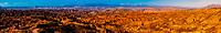 Panoramic view of canyons, Gorafe Depression, Gorafe Megalithic Park, near Gorafe, Granada Province, Andalusia, Spain.