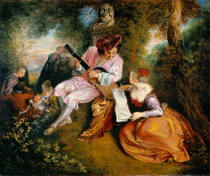 La Gamme d'Amour (The Scale of Love): In a wooded landscape a man in a velvet hat serenades a  girl with his guitar. In the background two lovers walk into the woods. Jean-Antoine Watteau (1784-1721) French painter.