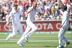 © Licensed to London News Pictures. 27/12/2013. Stuart Broad celebrates after getting a wicket during Day 2 of the Ashes Boxing Day Test Match between Australia Vs England at the MCG on 27 December, 2013 in Melbourne, Australia. Photo credit : Asanka Brendon Ratnayake/LNP