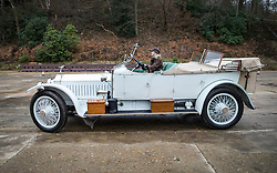 © Licensed to London News Pictures. 28/01/2018. Weybridge, UK. Competitor Katie Forrest drives a Rolls-Royce Silver Ghost from 1912 at Brooklands Museum as he takes part in The Vintage Sports-Car Club's New Year driving tests round the historic motor racing circuit. Photo credit: Peter Macdiarmid/LNP